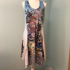 India Boutique Dress, multi-colored boho racerback
